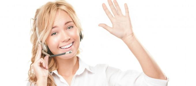 Customer service and call centre operator woman.